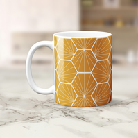 Butterscotch and White Hexagon Design Mug, Tea Coffee Cup