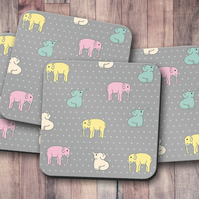 Set of 4 Grey with Multicoloured Elephants Design Coasters