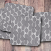 Set of 4 Grey with White Squares Design Coasters