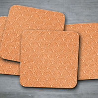 Set of 4 Orange and White Contemporary Design Coasters