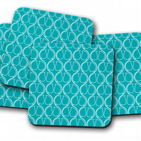 Set of 4 Turquoise with White Geometric Design Coasters
