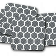 Set of 4 Grey and White Hexagon Geometric Design Coasters