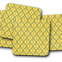 Set of 4 Yellow and Blue Geometric Design Coasters