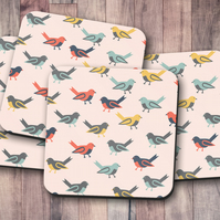 Set of 4 Pink with Multicoloured Birds Design Coasters