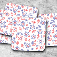 Set of 4 White with Red and Blue Folk Art Design Coasters