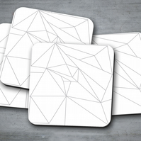 Set of 4 White with Grey Lines Geometric Design Coasters
