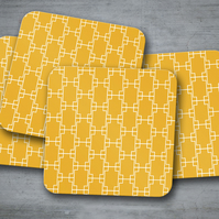 Set of 4 Yellow with White Geometric Squares Design Coasters