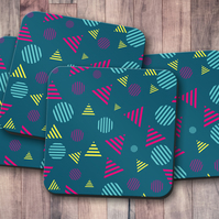 Set of 4 Dark Blue with Striped Circles and Triangles Design Coasters