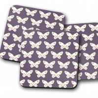 Set of 4 Purple with Butterfly Design Coasters