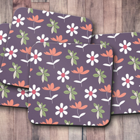 Set of 4 Purple with Floral Design Coasters