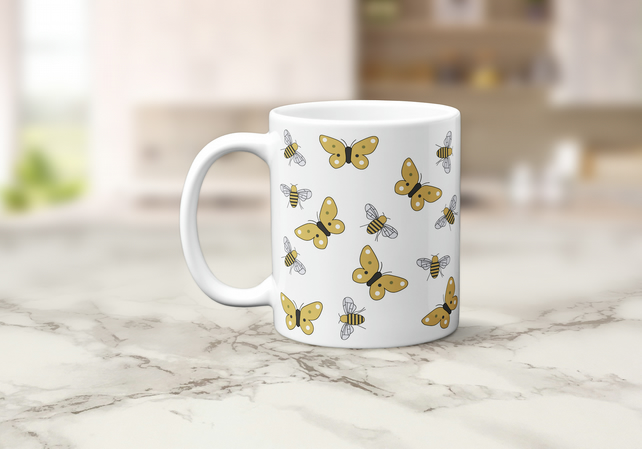 White with Butterflies and Bees Design Mug, Tea Coffee Cup