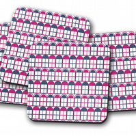 Set of 4 White with Purple and Blue Windows Design Coasters