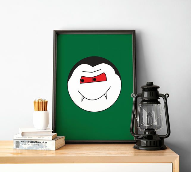 Print with Green Background and Vampire Design