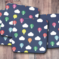 Set of 4 Blue with Multicoloured Hot Air Balloons Design Coasters