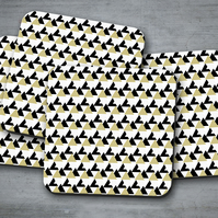 Set of 4 White with Black and Gold Triangle Geometric Design Coasters