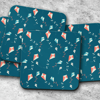 Set of 4 Blue with Kites Design Coasters