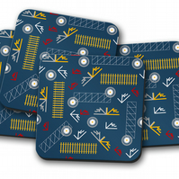 Set of 4 Blue Railway Inspired Design Coasters