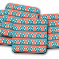Set of 4 Blue and Red Art Deco Design Coasters