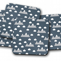 Set of 4 Blue with Clouds and Mountains Design Coasters