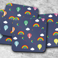 Set of 4 Blue Coasters with Multicoloured Hot Air Balloon and Rainbow Design