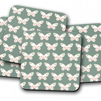 Set of 4 Green Coasters with Butterfly Design
