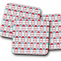 Set of 4 White with Red and Blue Windows Design Coasters