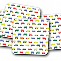 Set of 4 White with Multicoloured Camper Vans Coasters, Drinks Mat