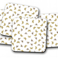 Set of 4 White with a Bees and Butterflies Design Coasters, Drinks Mat