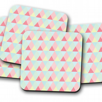 Set of 4 Pale Blue, Pink and Lemon Triangle Design Coasters, Drinks Mat