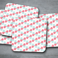 Set of 4 White with Pink and Blue Geometric Butterfly Design Coasters