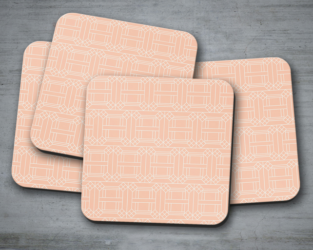 Set of 4 Peach with White Geometric Design Coasters, Drinks Mat