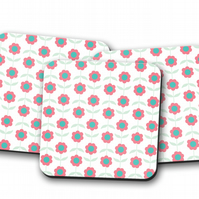 Set of 4 White with Pink Flowers Design Coasters, Drinks Mat