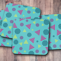 Set of 4 Turquoise Coasters with a Geometric Striped Shapes Design, Drinks Mat