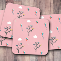 Set of 4 Pink Coasters with Trees, Birds and Kites Design , Drinks Mat