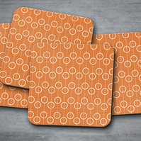 Set of 4 Orange Coasters with a White Circle Retro Design, Drinks Mat