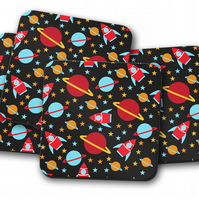 Set of 4 Black Coasters with an Outer Space Design, Drinks Mat
