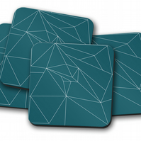 Set of 4 Teal Coasters with a White Line Geometric Design, Drinks Mat