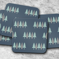 Set of 4 Blue Coasters with a Scandi Trees Design, Drinks Mat