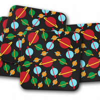 Set of 4 Black Coasters with a Multicoloured Planets Design, Drinks Mat