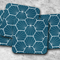 Set of 4 Peacock Blue Coasters with a White Hexagon Design, Drinks Mat
