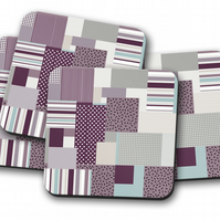 Set of 4 Coasters with a Purple and Blue Geometric Design, Drinks Mat