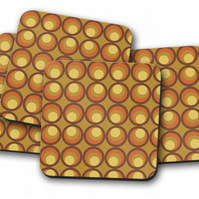 Set of 4 Coasters with a Brown and Yellow 70's Retro Design, Drinks Mat