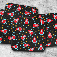 Set of 4 Black Coasters with a Space Rocket Design, Drinks Mat