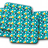 Set of 4 Turquoise Coasters with a Multicoloured Triangle Design, Drinks Mat