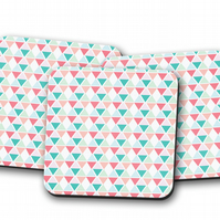 Set of 4 Coasters with a Multicoloured Geometric Diamond Design, Drinks Mat