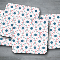 Set of 4 White Coasters with a Pink and Blue Geometric Floral Design, Drinks Mat