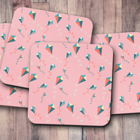 Set of 4 Pink Coasters with a Kites Design, Drinks Mat