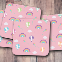 Set of 4 Coasters with a Rainbow and Hot Air Balloon Design, Drinks Mat