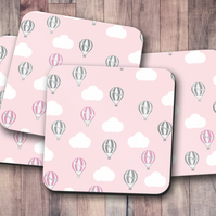 Set of 4 Pink Coasters with a Hot Air Balloon  Design, Drinks Mat