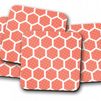 Set of 4 Orange Coasters with a White Hexagon Geometric Design, Drinks Mat